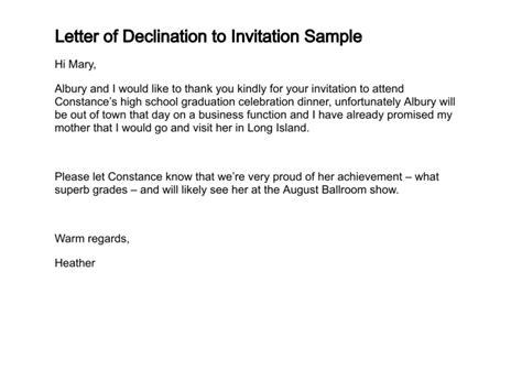 Sle Letter Decline Dinner Invitation Decline Invitation Letter Sle