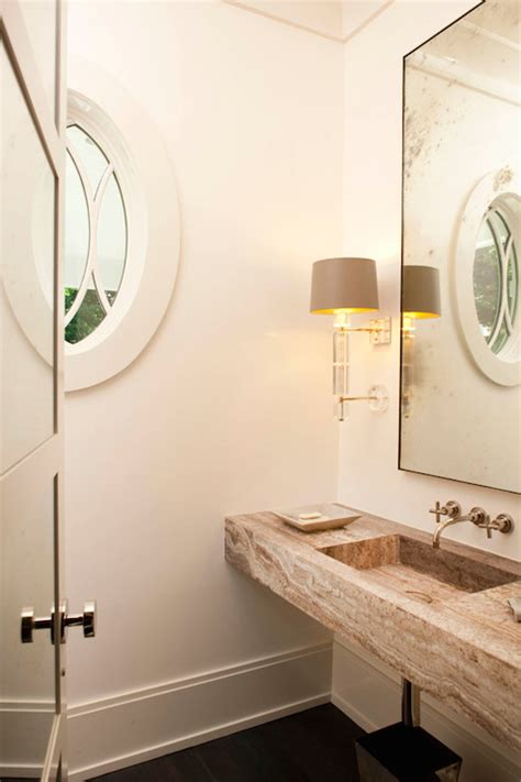 floating sink eclectic bathroom james schettino