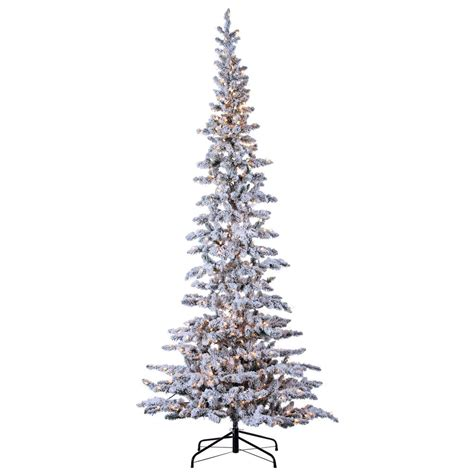 sterling nine foot flocked led trees sterling 9 ft pre lit narrow flocked pine artificial tree 5850 90c the home