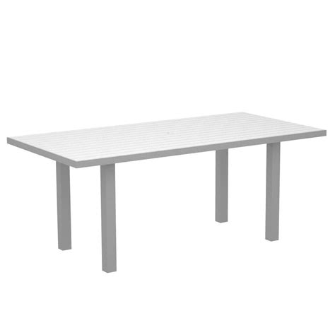 White Patio Dining Table Polywood Textured Silver 36 In X 72 In Patio Dining