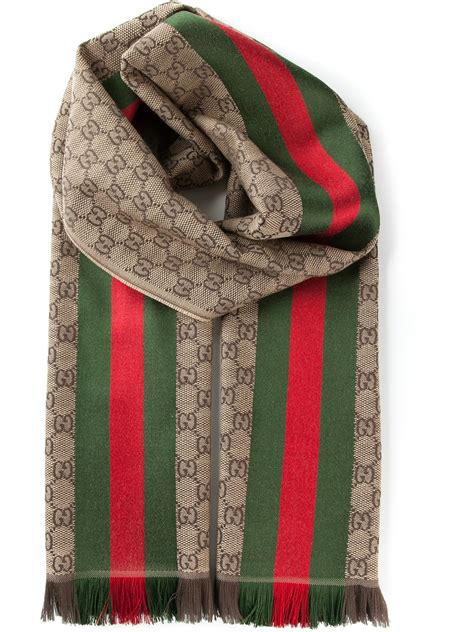 gucci monogram scarf in brown for lyst