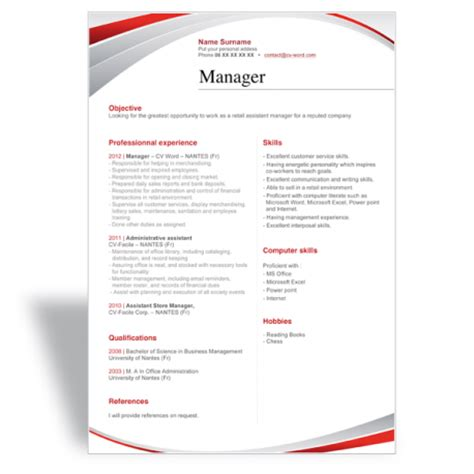 cv template word manager download and write a great word cv r 233 sum 233 template manager