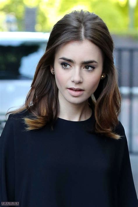 lily collins great hair and lip colour game is as famous as she is lily collins hair color hair pinterest