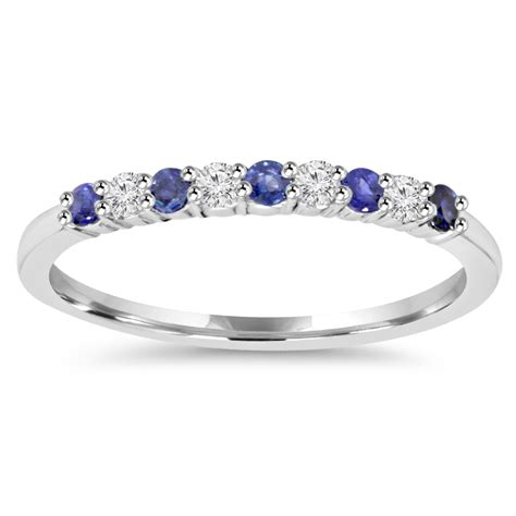 1 4ct blue sapphire wedding ring 10k white gold