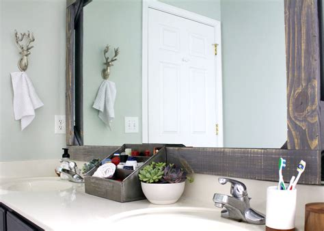 how to frame a bathroom mirror with wood diy rustic wood mirror frame tag tibby