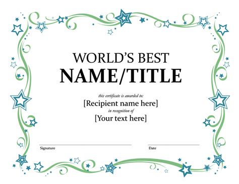 microsoft word award certificate template 5 best images of printable award certificate templates