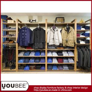 design clothes made in china china wooden wall mounted display shelf for men clothing