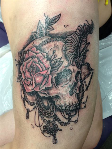 feather rose tattoo girly skull with feather and jewelry bandit