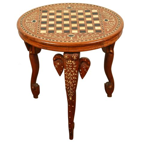 Elephant Side Table Anglo Indian Side Table Inlaid With Of Pearl And Elephant At 1stdibs