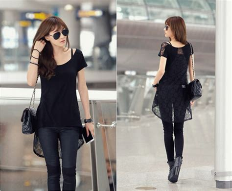 Korean Style Shirt summer new fashion korean style lace back design black and