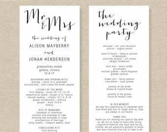 Wedding Program Template Printable Wedding Program Diy Microsoft Word Wedding Program Templates