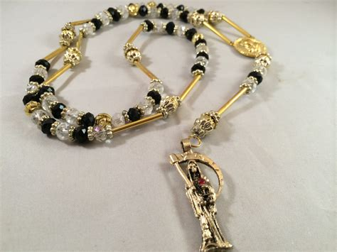 santa muerte rosary santa muerte rosary necklace gold black clear by
