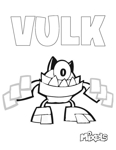 mixels coloring page vulk eric s activity pages