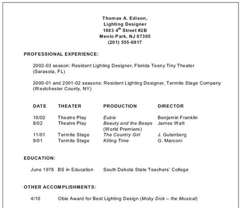 inexperienced resume template stage lighting for students