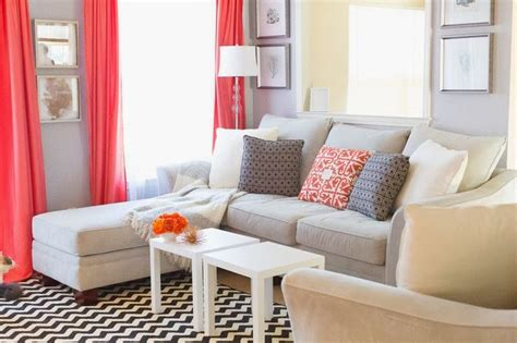 Coral And Gray Living Room by Coral And Grey Living Room Family Room