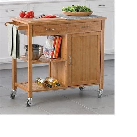 kitchen island cart bamboo rolling storage drawer utility