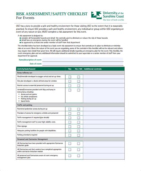 event risk management template sle risk assessment checklist template 9 free