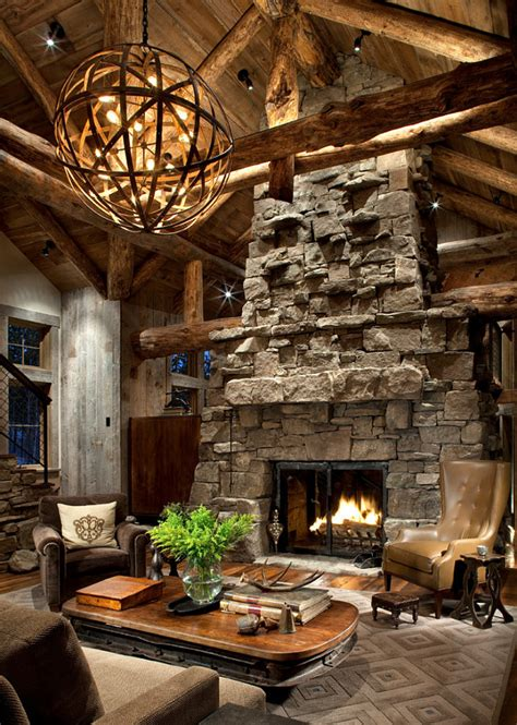 rustic fireplace rustic ski lodge home bunch interior design ideas