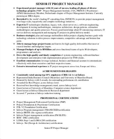 information technology senior project manager resume sample telecom