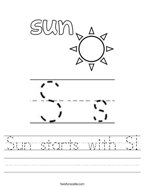 S Worksheet by Sun Starts With S Worksheet Twisty Noodle