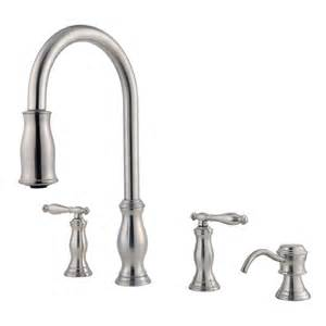 shop pfister hanover stainless steel 2 handle pull down kitchen faucet at lowes com