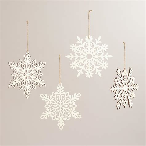 laser cut wood hanging snowflakes set of 4 world market
