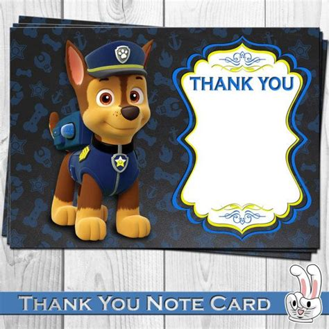 paw patrol thank you card template paw patrol thank you card birthday от