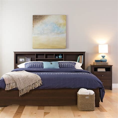 King Size Headboard With Storage King Size Bookcase Headboard With 6 Storage Compartments Espresso Esh 8445 By Prepac