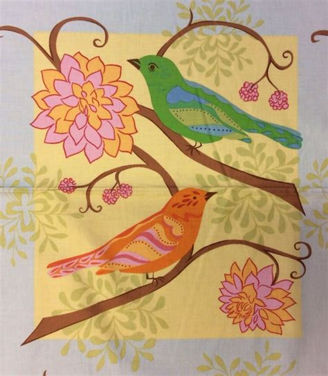 Bird Quilting Fabric by Ff105 Bird On Branch Birds Floral Panel Square Cotton