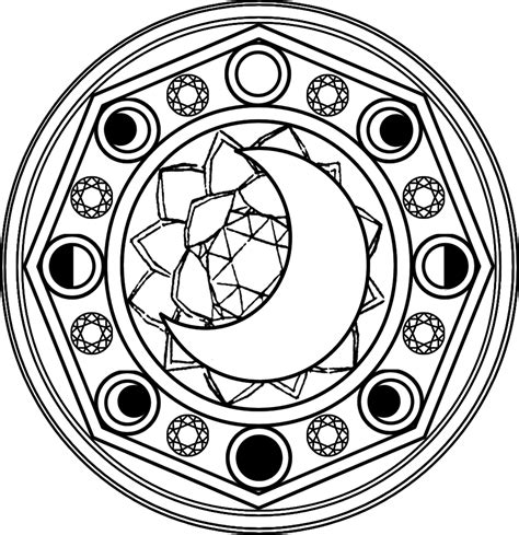 Circle The Moon magic circle symbols sketch coloring page