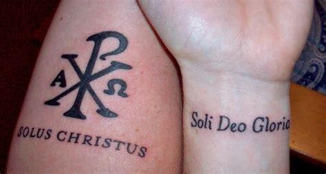 soli deo gloria tattoo chi rho symbol quot solus christus quot alone