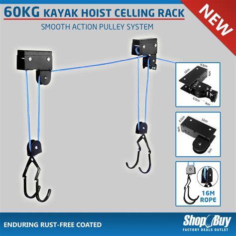 Garage Hoist Pulley System by New Kayak Hoist Ceiling Rack Bike Lift Pulley System Garage Storage Rope 60kg