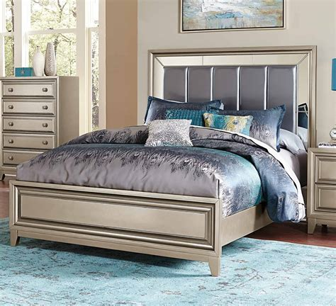 homelegance bedroom set homelegance hedy upholstered bed silver 1839 1