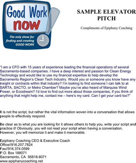 download elevator pitch exles 1 for free tidyform