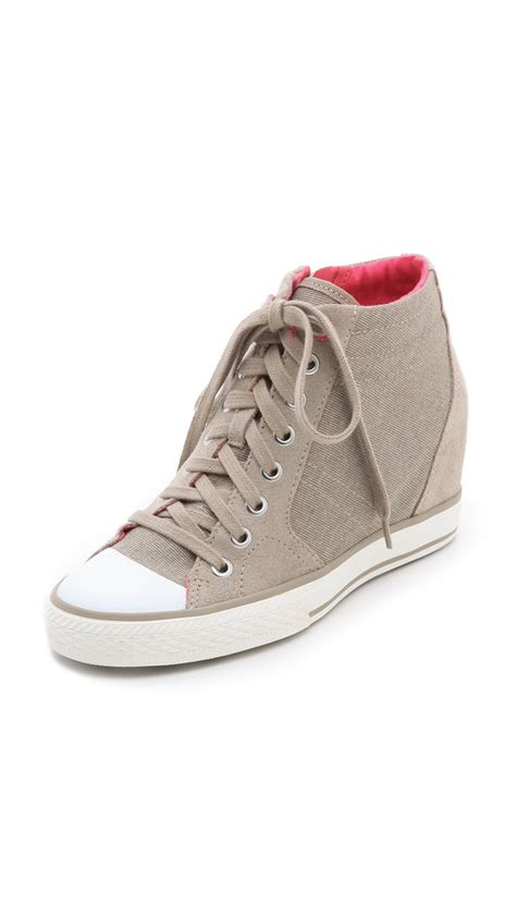 dkny canvas wedge sneakers in lyst