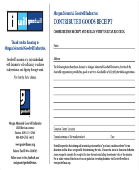 goodwill donation receipt template 13 goodwill donation receipt sle templates