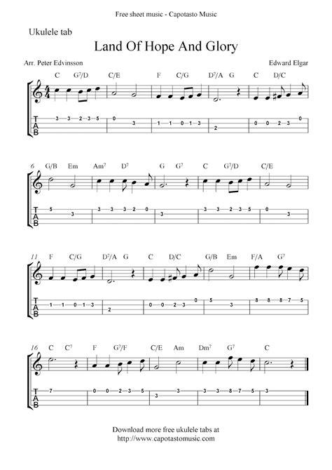 printable sheet music for ukulele land of hope and glory free ukulele tab sheet music