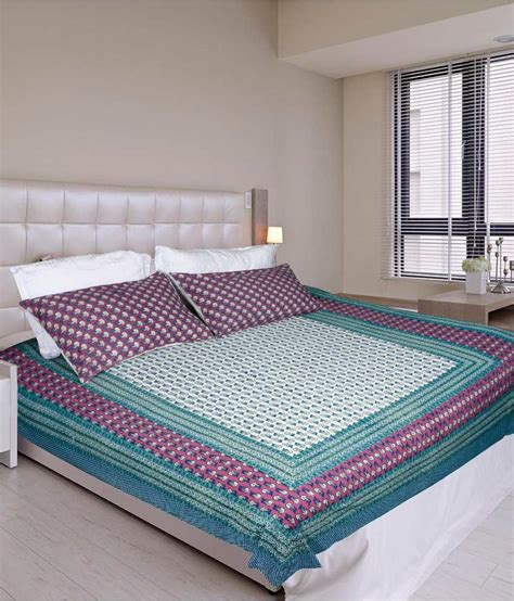 Glitter On The Mattress by Glitter Trading Printed Rajasthani Bed Sheet With 2