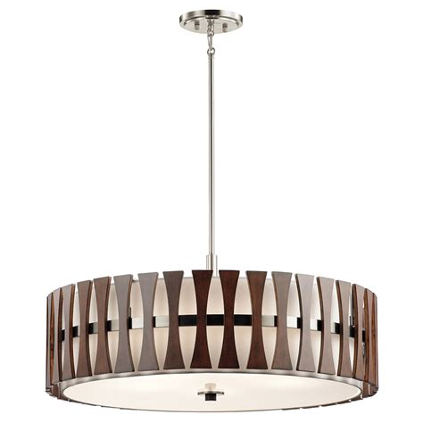 Kichler 43754AUB Cirus Contemporary Auburn Stained Drum Hanging Pendant Lighting KIC 43754AUB