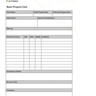 exercise program card template program cards from the australian institute of
