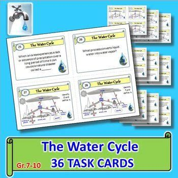 Task Card Answer Template by The Water Cycle Task Cards With Editable Template