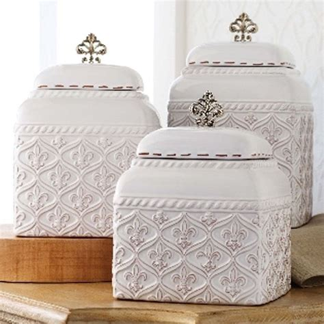 mud pie ml6 kitchen white ceramic fleur de lis 3