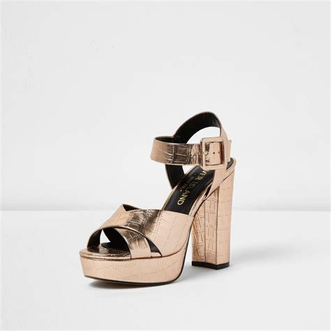 gold wide fit sandals river island gold wide fit platform heel sandals in