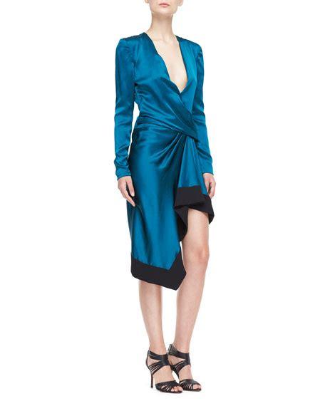 draped v neck dress j mendel long sleeve draped v neck dress empress green