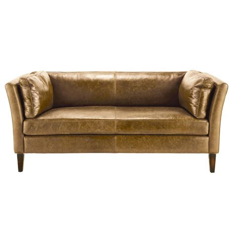 Camel Leather Sofa by 3 Seater Leather Vintage Sofa In Camel Prescott Maisons