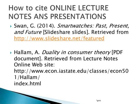 apa format lecture notes citations of online research