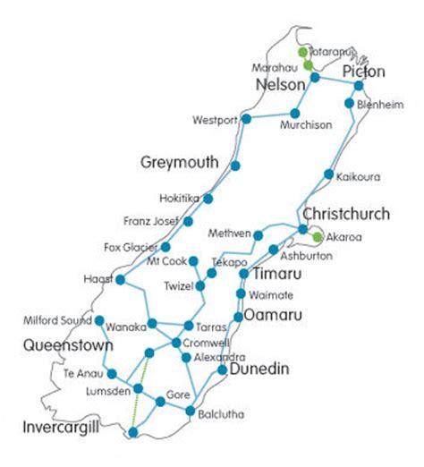 printable road map north island new zealand new zealand bus lines south island bus coach routes