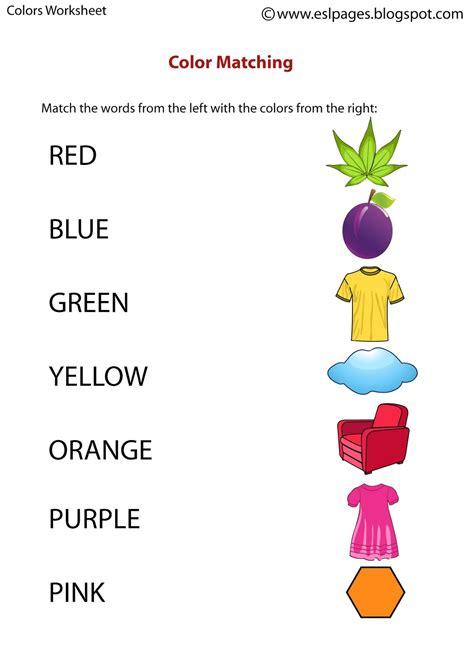 color worksheets esl pages colors worksheets
