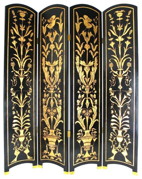 Gold Room Divider Wayborn Floral Vine Room Divider In Black Gold Traditional Screens And Room Dividers By Cymax