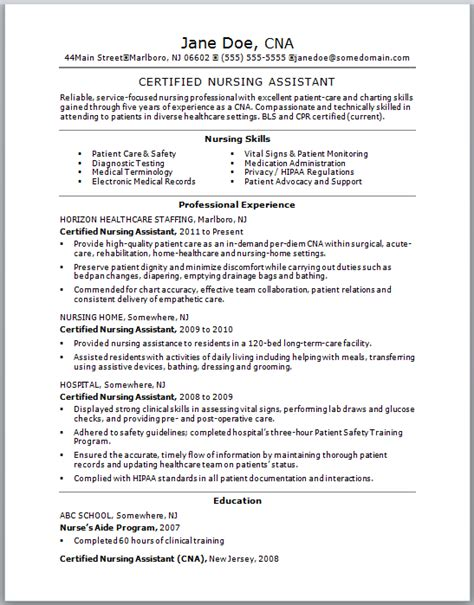 Entry Level Cna Resume Sle by Cna Resume Sle With No Experience 0 Sles Free Resumes Tips Www Madbyte Net